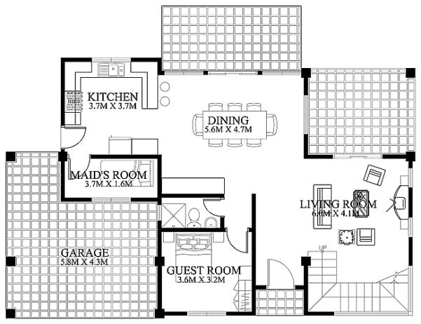 Mặt bằng tầng 1- Kiến trúc biệt thự hiện đại có bể bơi