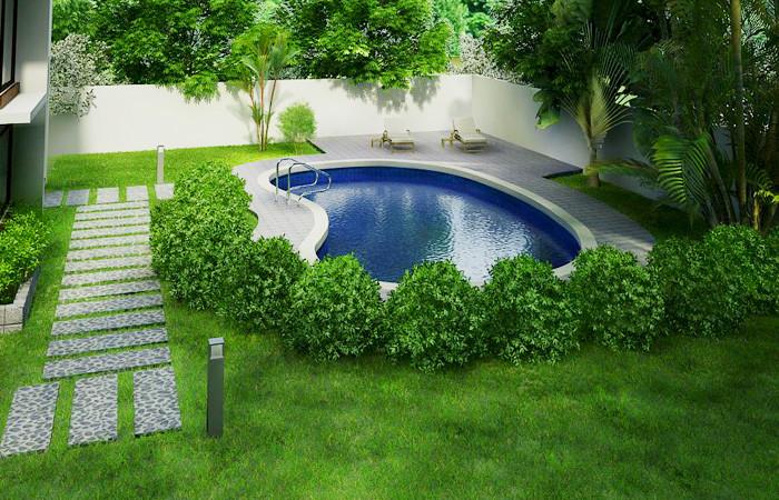 Kiến trúc biệt thự hiện đại có bể bơi - Không gian bể bơi