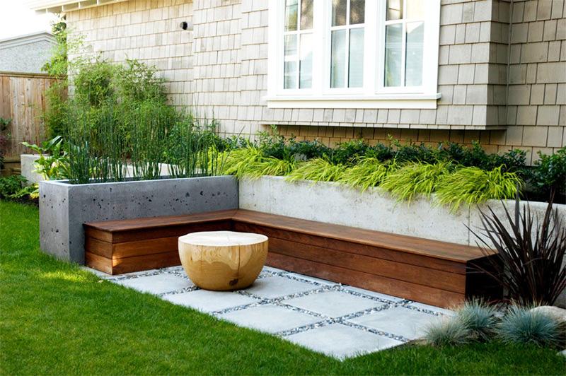 Làm đẹp khu vườn bằng những khối hình bê tông.5
