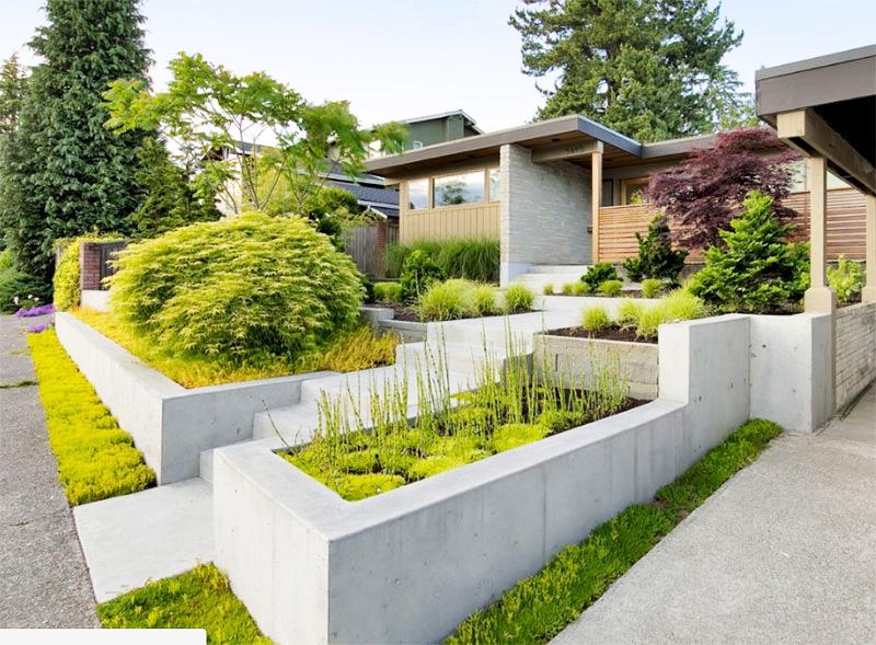 Làm đẹp khu vườn bằng những khối hình bê tông.7