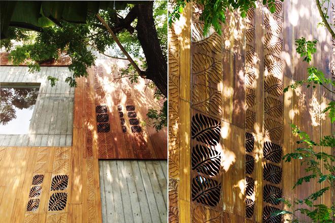Mộc mạc với kiến trúc nhà ống ốp bằng gỗ - Ảnh 02