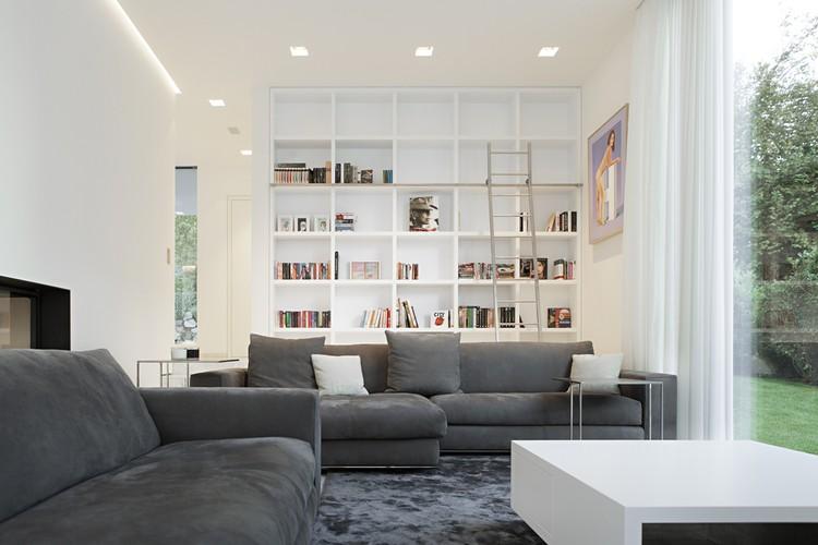 Thiết kế kiến trúc biệt thự thanh lịch với màu trắng chủ đạo - Hình ảnh nội thất 02