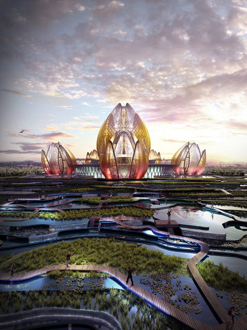 Kiến trúc trung tâm văn hóa nghệ thuật hình dáng bông sen vàng.2