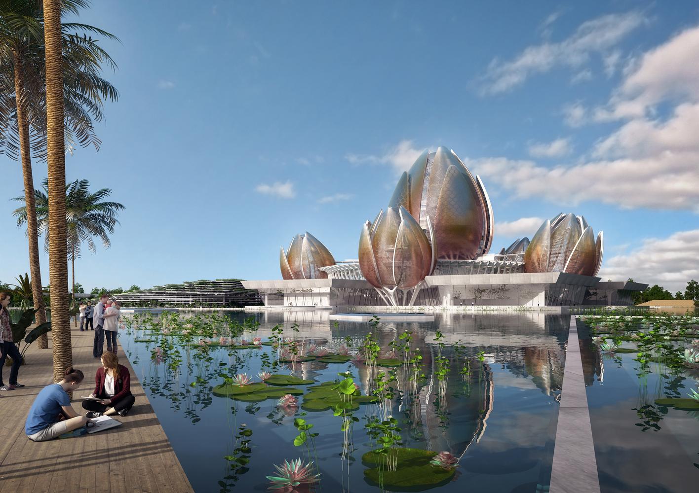 Kiến trúc trung tâm văn hóa nghệ thuật hình dáng bông sen vàng.4