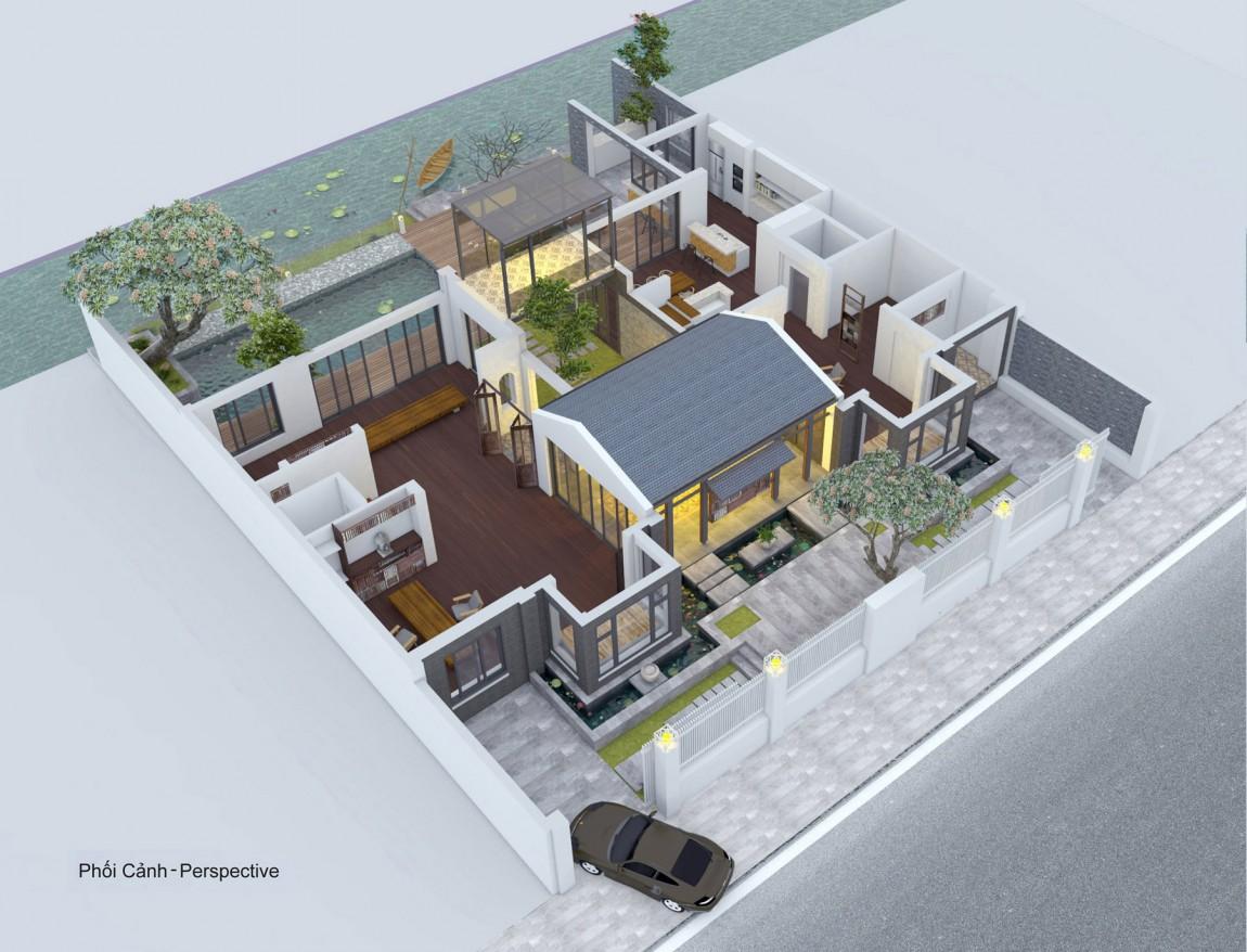 Biệt thự hiện đại phủ màu xanh như resort-12