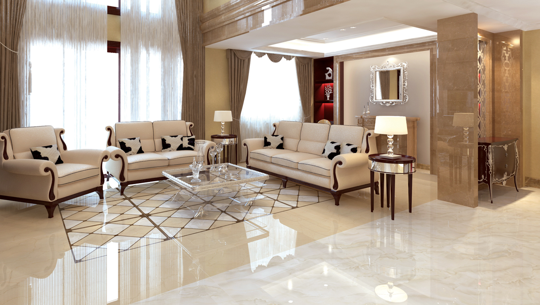 Lựa chọn gạch ốp tường giúp phòng khách biệt thự thêm sang trọng. 3