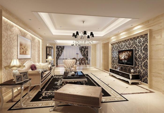 Lựa chọn gạch ốp tường giúp phòng khách biệt thự thêm sang trọng. 4