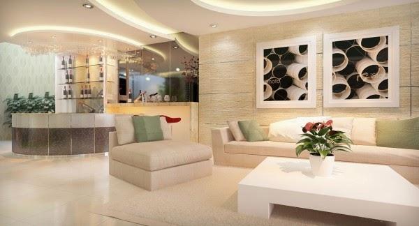 Lựa chọn gạch ốp tường giúp phòng khách biệt thự thêm sang trọng
