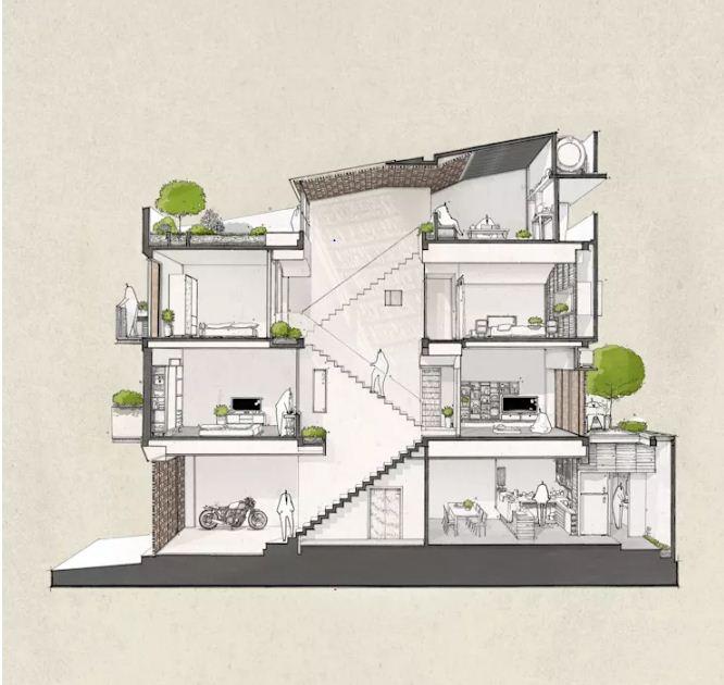 Nhà phố đẹp 3 tầng 4x15m thiết kế độc đáo. 7