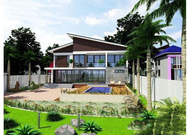 Thiết kế biệt thự đẹp 2 tầng mái lệch 9x14m. 4