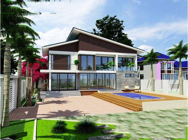 Thiết kế biệt thự đẹp 2 tầng mái lệch 9x14m. 2