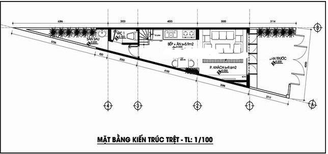 Thiết kế nhà ống 4 tầng  118m2 trên đất tam giác - MB Tầng 1
