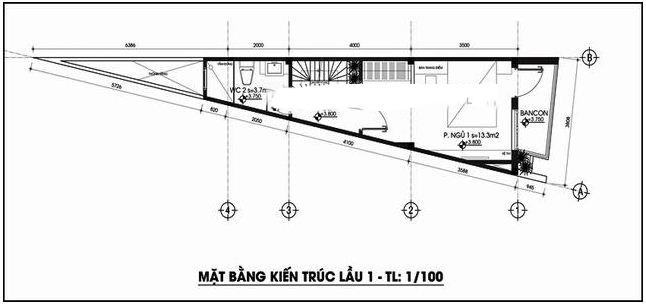 Thiết kế nhà ống 4 tầng  118m2 trên đất tam giác - MB Tầng 2