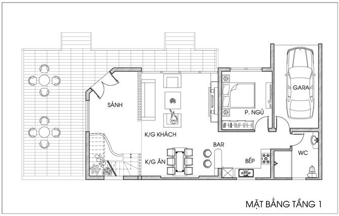 Thiết kế nhà vườn 2 tầng diện tích 7x20m. 2