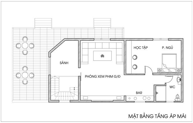 Thiết kế nhà vườn 2 tầng diện tích 7x20m. 3