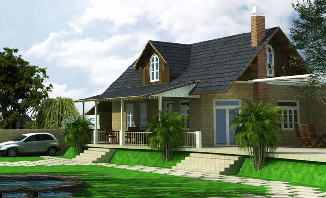 Thiết kế nhà vườn 2 tầng diện tích 7x20m
