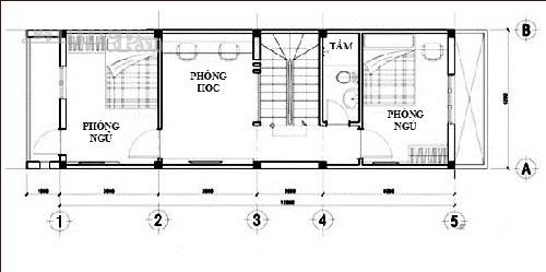 Thiết kế nhà ống 3 tầng 45,5m2 chi phí rẻ. 3