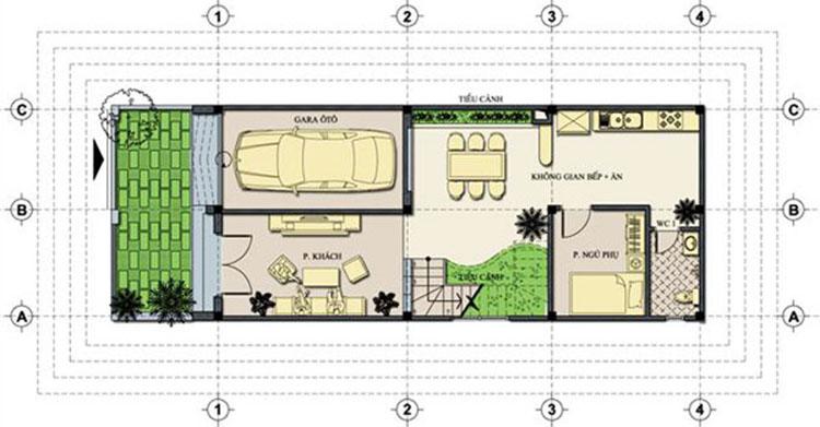 Kiến trúc nhà ống 3 tầng 5,5x11m nhiều không gian xanh - 02