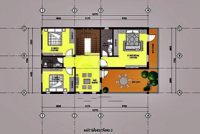 Biệt thự 2 tầng mái thái gần gũi với làng quê. 3