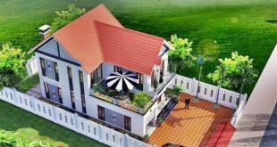 Biệt thự 2 tầng mái thái gần gũi với làng quê