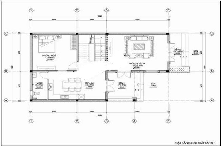 Nhà ống 3 tầng hình hộp vuông hiện đại 8x14m. 2