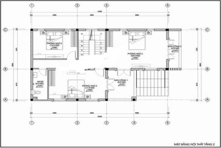Nhà ống 3 tầng hình hộp vuông hiện đại 8x14m. 3