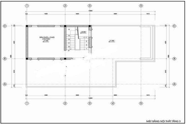 Nhà ống 3 tầng hình hộp vuông hiện đại 8x14m. 4