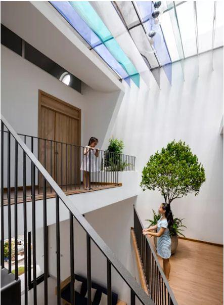 Nhà lệch tầng lấy sáng với thiết kế độc đáo. 3