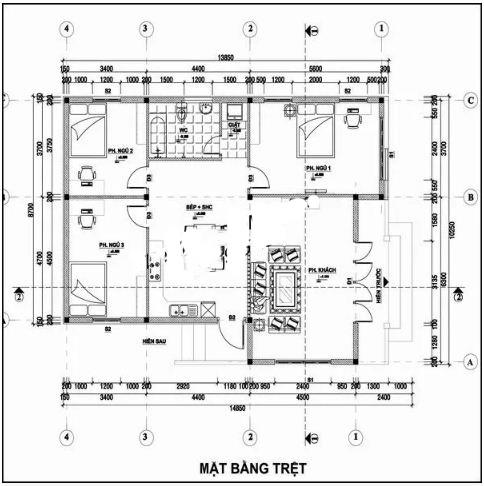 Mẫu thiết kế nhà đẹp 1 tầng 10x10m hiện đại. 2