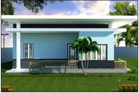 Mẫu thiết kế nhà đẹp 1 tầng 10x10m hiện đại. 3