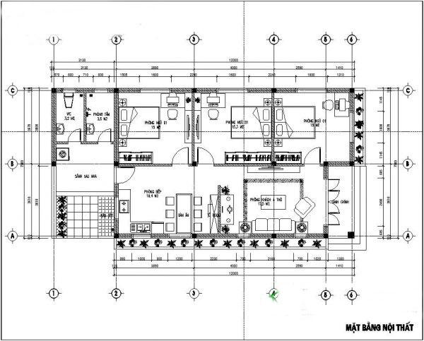 Mẫu thiết kế biệt thự vườn 1 tầng mái thái đẹp - Bản vẽ mặt bằng công năng