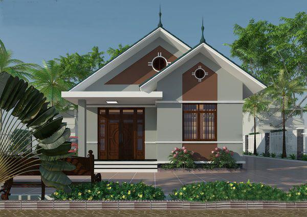 Mẫu thiết kế biệt thự vườn 1 tầng mái thái đẹp - Phối cảnh 1