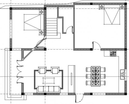 Mẫu thiết kế biệt thự 3 tầng hiện đại - Mặt bằng công năng tầng 1
