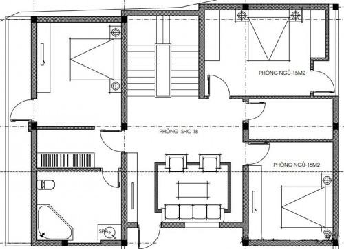 Mẫu thiết kế biệt thự 3 tầng hiện đại - Mặt bằng công năng tầng 2