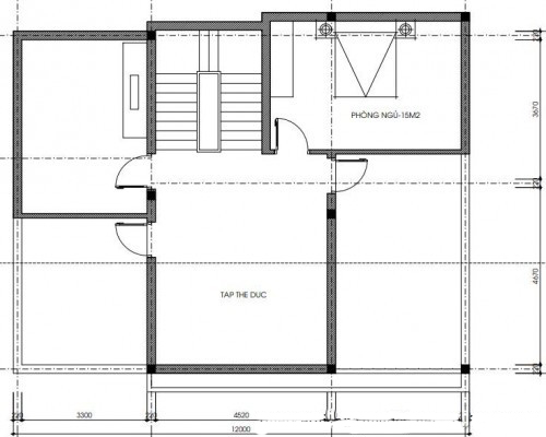 Mẫu thiết kế biệt thự 3 tầng hiện đại - Mặt bằng công năng tầng 3