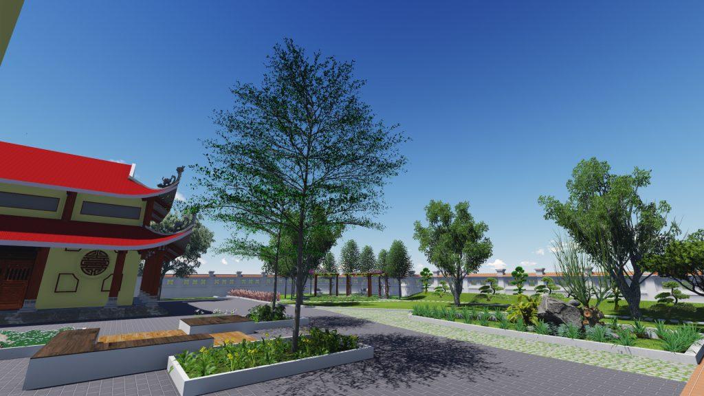 Thiết kế không gian xanh tuyệt đẹp khuôn viên đền thờ 6