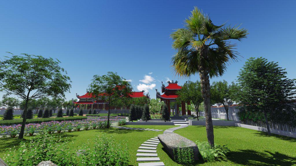 Thiết kế không gian xanh tuyệt đẹp khuôn viên đền thờ 2