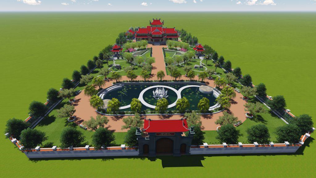 Thiết kế không gian xanh tuyệt đẹp khuôn viên đền thờ 1