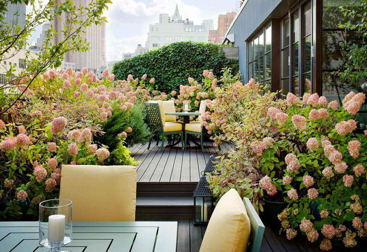 Thiết kế nhà biệt thự - Vườn sân thượng phong cách địa trung hải
