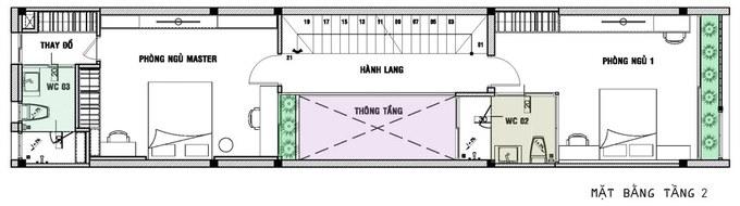 Mặt bằng mẫu thiết kế kiến trúc nhà phố với khoảng không gian xanh - 2