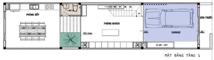 Mặt bằng mẫu thiết kế kiến trúc nhà phố với khoảng không gian xanh - 3