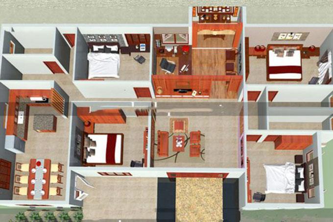 Mặt bằng công năng mẫu thiết kế nhà cấp 4 mái thái
