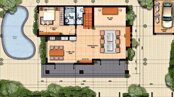 Công năng tầng 1 biệt thự vườn 2 tầng có bể bơi