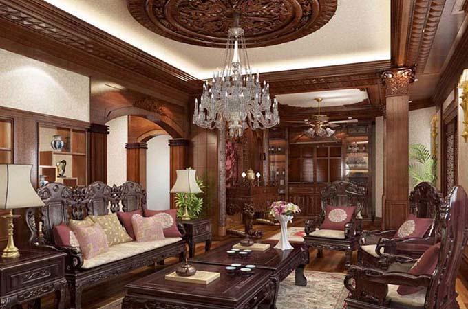 Phòng khách - Biệt thự cổ điển 3 tầng 2 mặt tiền