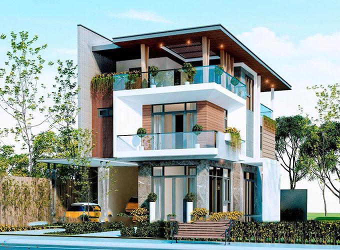 Kiến trúc xanh trong biệt thự hiện đại 3 tầng