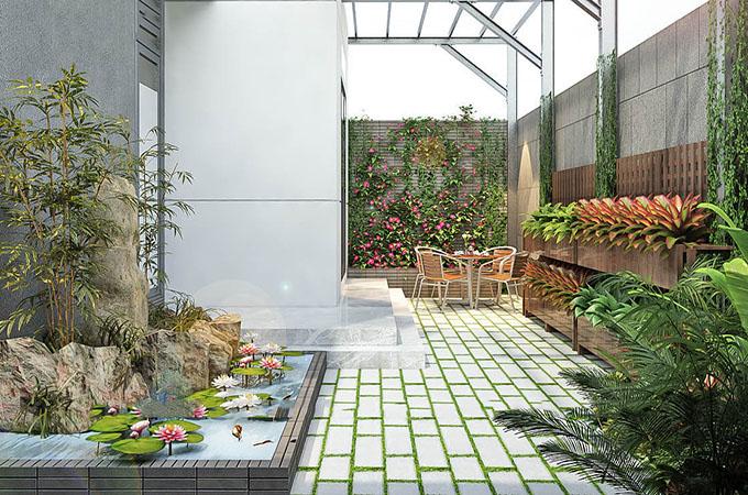Khuôn viên xanh trong biệt thự hiện đại 3 tầng