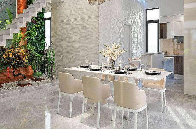Phòng ăn sinh động với tiểu cảnh cây xanh