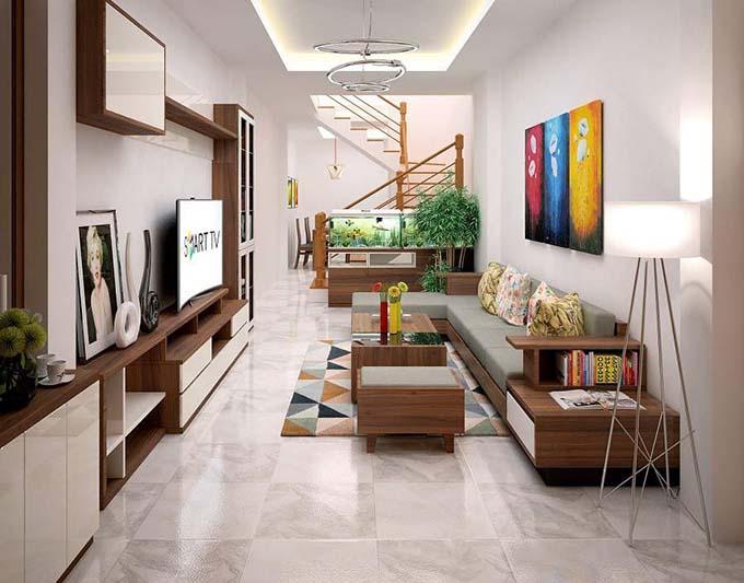 Phòng khách nhà phố 2 tầng mặt tiền 5m