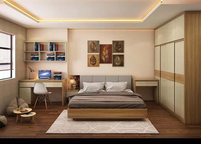 Phòng ngủ nhà phố 2 tầng mặt tiền 5m