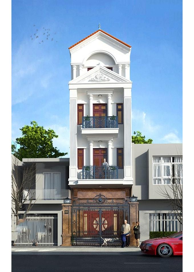 Mẫu nhà 4 tầng tân cổ điển